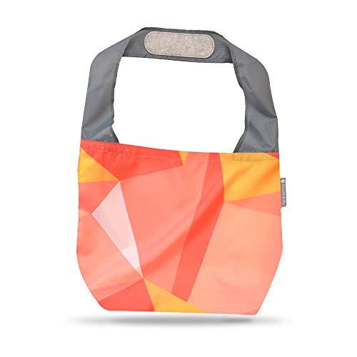 24-7 Premium Reusable Bag With Assorted Prints, Foldable Beach Bag, Grocery Bag, Travel Bag, Shopping Bag - Flip and Tumble (Modern)