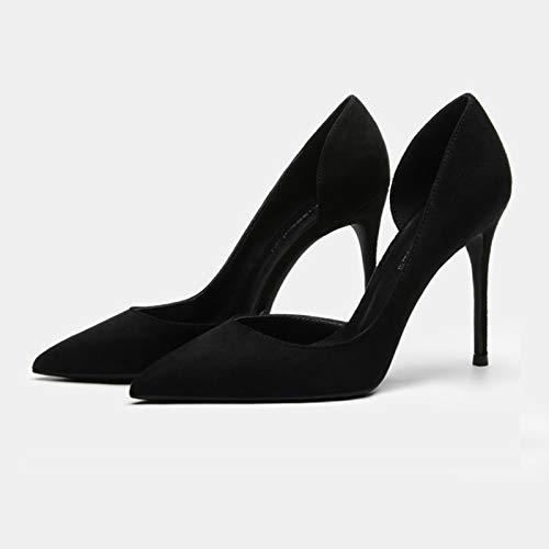 Bewinch Zapatos Tacón Mujer Tacones Altos, Moda Clásico Mate Cuero Puntiagudo Punteado Tacón Alto Bombas De Tacón Sexy Slip En Stiletto Party Dress Cort Shoes 10Cm / 3.9In,Negro,40