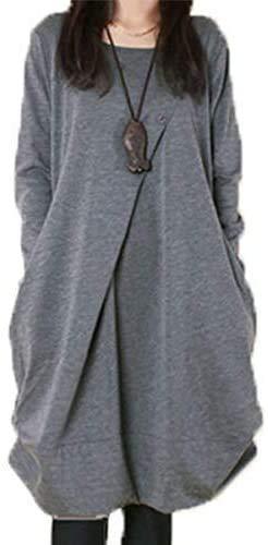 J.STORE (ジェイストア) ランダム ボタン カット ワンピ シンプル服 袖 Aライン チュニック コクーン 釦 バルーン 形状 記憶 学生 おおきいサイズ ロング ワンピース ヒザ 丈 大きい サイズ 衣装 ol カワイイ ドレス 安い フンワリ レディース ボタン 長袖 カジュアル ふんわり ポリエステル トップス スウェット 女性 トレンド アウトドア スクール J12 グレー L