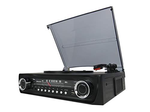 Roadstar TTR-9645EBT - Tocadiscos con Radio FM, Bluetooth, USB (3.0), Entrada Auxiliar...