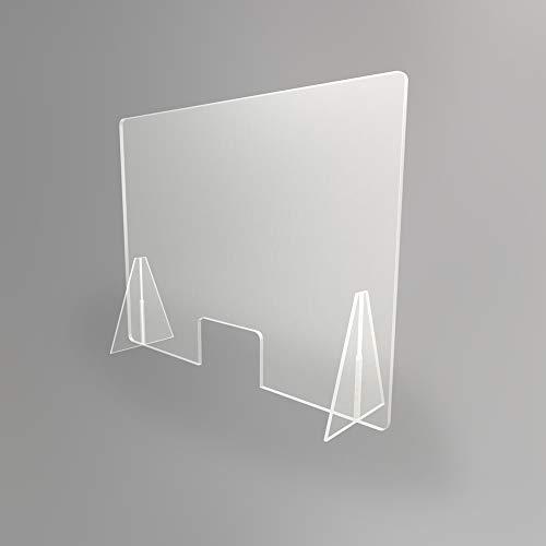 Mampara transparente anti contagio y protección 100 x 75 cm, separador para mostrador, mesas, oficinas y comercios