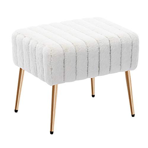Duhome Modern Faux Fur Ottoman Bench Tufted Footrest Vanity Chair Makeup Chair Vanity Stool for Bedroom Living Room Kids' Room White