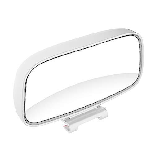 Nicoone 1 Pieza Espejo Retrovisor Ajustable de Gran Angular de Rotación de Punto Ciego para Coche Universal-Blanco