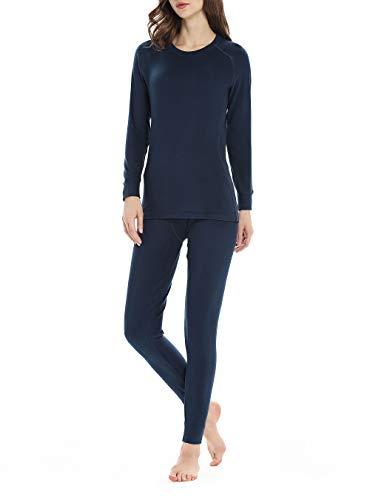 Thermal Underwear for Women, Fleece Lined Long Underwear Winter Base Layer Set Midweight Long John (Black, Small