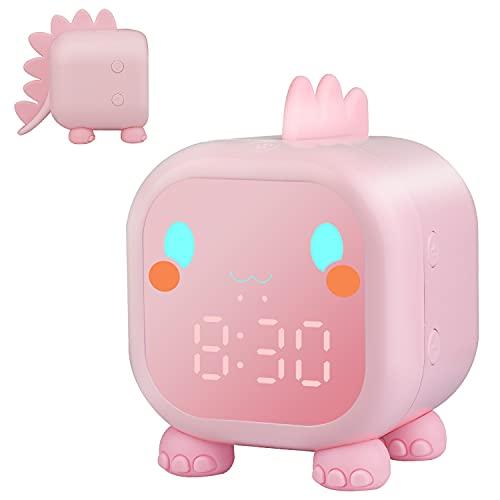 Reloj Despertador Digital, Despertador Infantil Dinosaurio Digital para Niños Luz de Despertador, Reloj Despertador Simulador de Amanecer Temperatura con Snooze (Rosa)