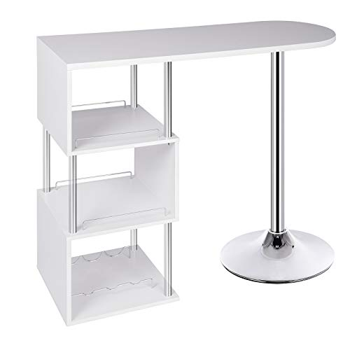 WOLTU Kitchen Bar Counter Table Bistro Table Breakfast Dining Table White Coffee Table with 3-Tier Storage Shelves for Beverage Display Shelving Room Divider Steel Frame with Footrest
