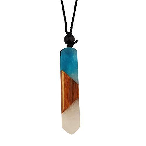 Epoxy Resin Wood Necklace Magic Pendant Handmade Jewelry Best Gift for Mom (Aqua)