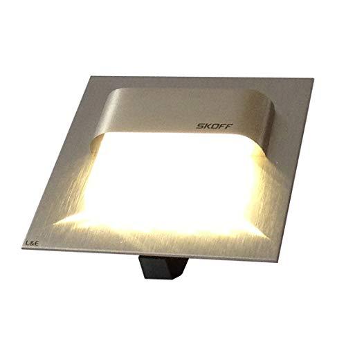 22800142 - SKOFF LED inbouwlamp TANGO 10 V geborsteld roestvrij staal. (2x) trapverlichting. Lichtkleur: warm wit. Wandlamp traplicht. Geschikt voor inbouwdoos met een diameter van 60 mm. Inclusief (1x) LED-converter 230 V/10 V, 7 watt.