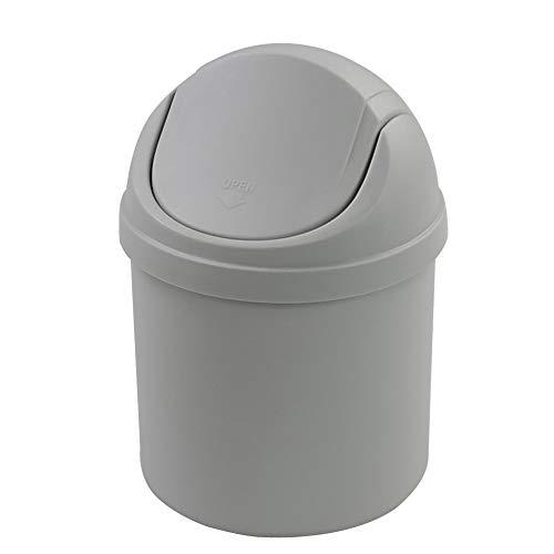 DynkoNA 2 L Mini Cubo de Basura de Escritorio, Bote de Basura con Tapa (Gris)