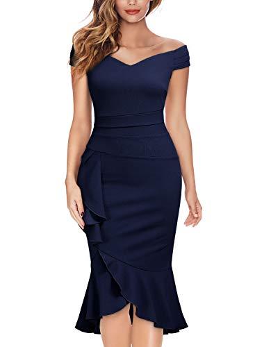 Knitee Women's Off Shoulder V-Neck Ruffle Pleat Waist Bodycon Evening Cocktail Slit Formal Dress Navy Blue