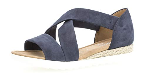 Gabor 22.711 Damen Sandalen,Riemchensandale, Frauen,Sandalette,Sommerschuh,flach,Comfort-Mehrweite,Navy (Jute),7 UK