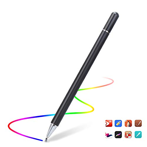 Capacitive Stylus Pen for Touch Screens, High Sensitivity Pencil Magnetism Cover Cap for iPad Pro/iPad Mini/iPad Air/iPhone Series All Capacitive Touch Screens (Black)