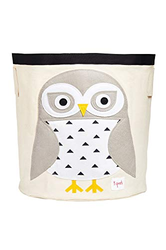 3 Sprouts Canvas Storage Bin - Laundry and Toy Basket for Baby and Kids, Snowy Owl