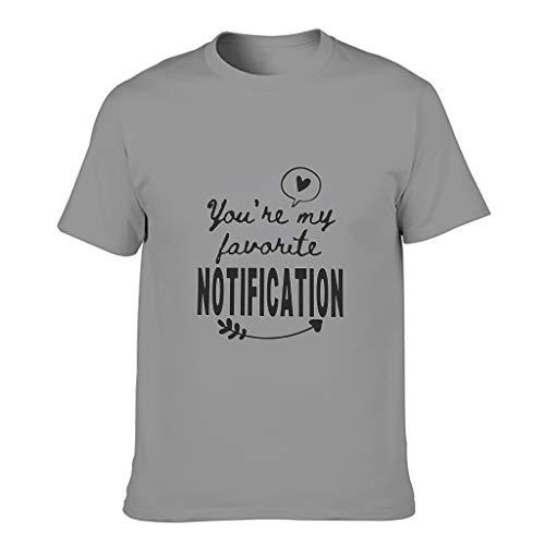 Camiseta de algodón para hombre con texto en alemán 'Du bist Meine Lieblingsnotifiung Cool Divertida y duradera - Camisa impresa Gris oscuro. XXL
