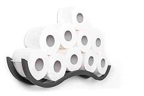 Support de papier toilette en bois pour salle de bain Motif vague Gris
