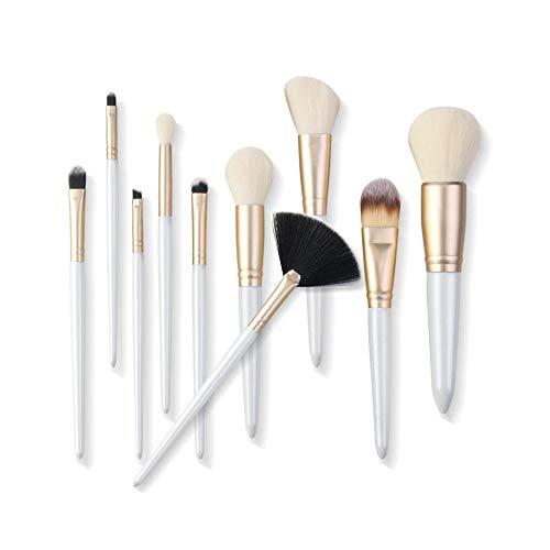 VFJLR 10 pcs Maquillage Brosses Ensemble Professionnel Maquillage Brosse Outils kit Poudre Fondation Fard À Paupières Eyeliner Naturel-Synthétique Cheveux blanc