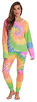 Just Love Women's Tie Dye Two Piece Thermal Pajama Set 6770-10363-M