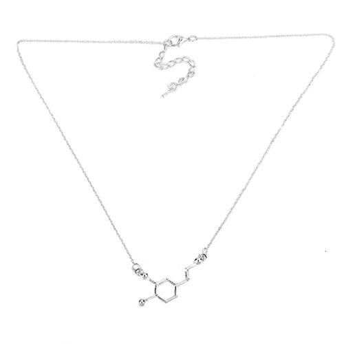 Collar con forma de aleación de molécula de dopamina, colgante de plata