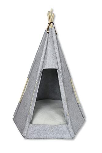 Tipi Zelt für Haustiere Hunde Katzen Bett Filou Hütte Filz mit Kissen Holzgestell Verschiedene Größen/Farben (90x65x57 cm, Hellgrau)