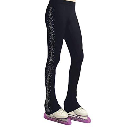 LISI Mädchen Frauen Eiskunstlauf Crystal Pant Fleecefutter Thermo Eislaufen üben Legging mit Fußwickelentwurf Kristalle Verschönerung,Schwarz,XS