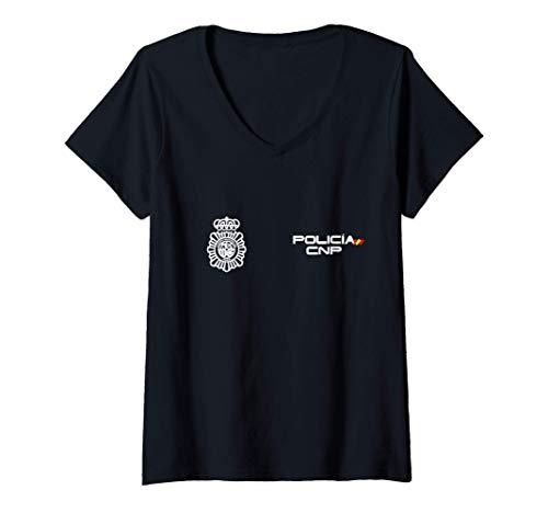 Mujer Camiseta de Policia Nacional España Camiseta Cuello V