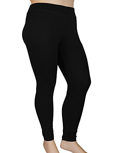 Stylzoo Women's Plus Size Comfy Stretch Ankle Length Leggings Yoga Stretch Pants Black 2X