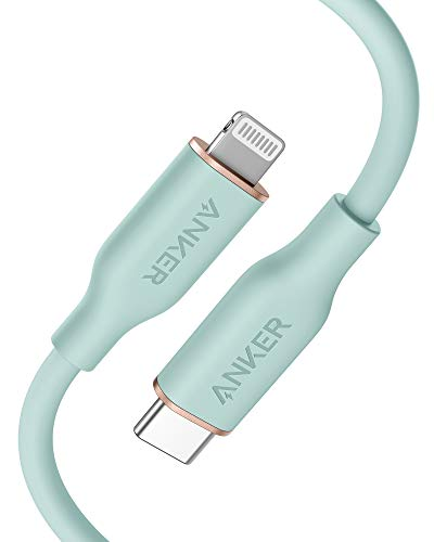Anker Powerline III Flow USB C auf Lightning Ladekabel PD kompatibel mit iPhone 12 Pro Max1211 ProXXSXR8 Plus AirPods Pro 90cm Apple MFi Zertifiziert Silikagel in Mintgrun