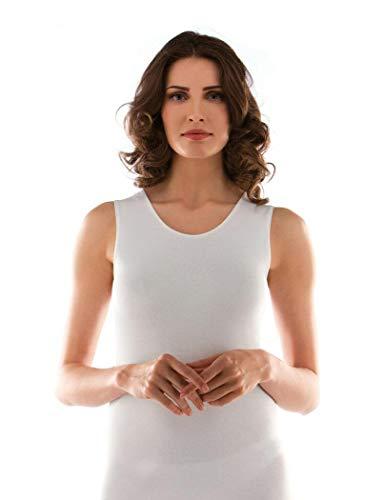 2 canotta donna spalla larga caldo cotone bianco LIABEL art. 02828/D16 (6/XL)