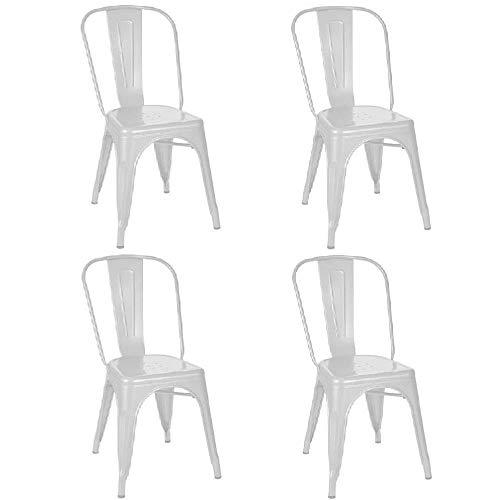 Kit 4 Cadeiras Tolix Branca (Branco)