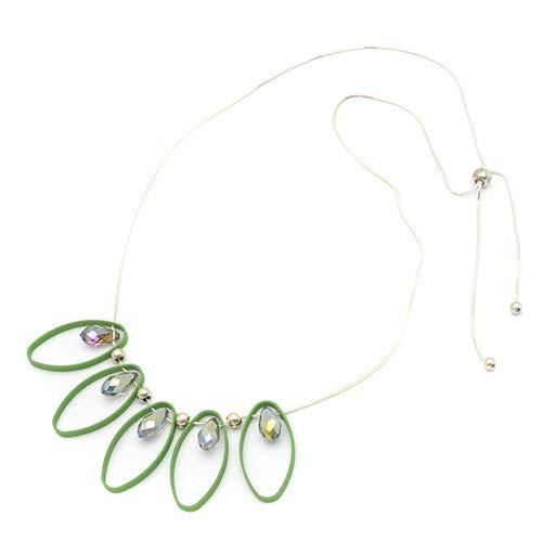 [ノーブランド] パステルデザインネックレス 胸元を華やかに レディース ジュエリー アクセサリー グリーン