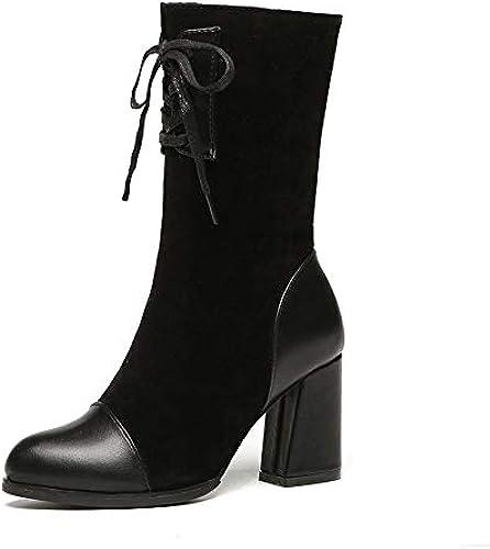 Shukun Botines botas para mujer de otoño e Invierno botas Medias de tacón Alto con botas Martin Cortas