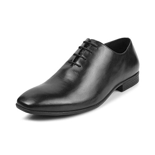 tresmode Mens Whole Cut Leather Oxford Shoes Black