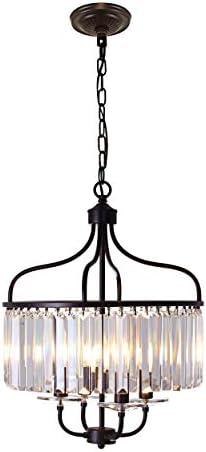 HXFDSMF Round Crystal Chandelier Pendant Hanging Kitchen Light Fixtures Chandelier 16 5 Crystal product image