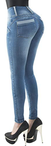 Fiorella Shapewear Butt Lifter Women Jeans High Rise Waist Push Up Levanta Cola Pantalones Colombianos 505BB Blue Size 5 USA / 10 COL