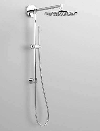 Columna de ducha Diva, toma de agua con casquillo superior, brazo de ducha de 450 mm, alcachofa GIPZY de acero inoxidable de 400 mm, fabricada en Italia