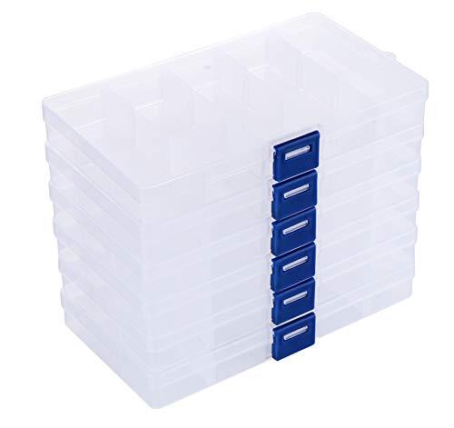 ilauke 6 Stück Fächer Aufbewahrungsbox, Plastik Aufbewahrungsbox Schmuck Aufbewahrungsbox Sortierboxen 15 Raster für Veranstalter Perlen Ohrring, Einstellbar Sortimentskasten