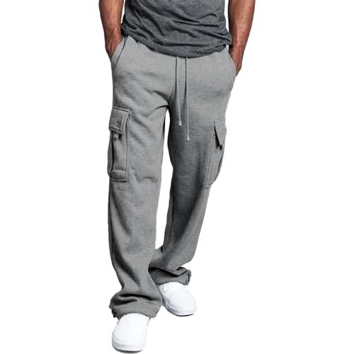 Pantalones Casuales para Hombre Pantalones Casuales de Varios Bolsillos Rectos Sueltos de Color sólido Sencillos Pantalones Casuales de Ocio al Aire Libre para el hogar XL