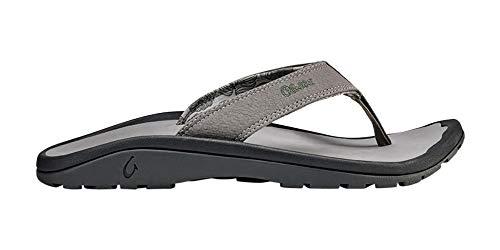 OLUKAI Men's Ohana Sandals, Fog/Fog, 10