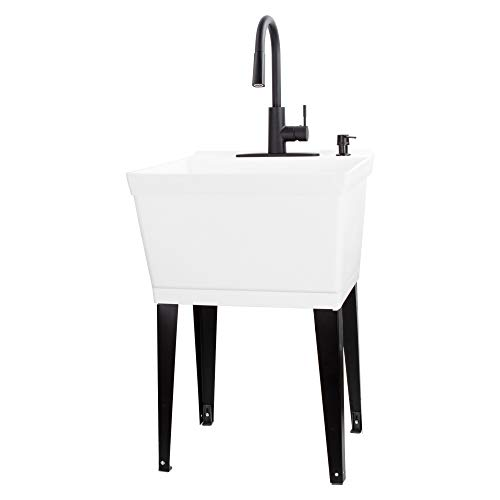 VETTA White Utility Sink Laundry Tub With High Arc Black Kitchen Faucet By VETTA - Pull Down Sprayer Spout, Heavy Duty Slop Sinks For Washing Room, Basement, Garage, or Shop, Free Standing Tubs