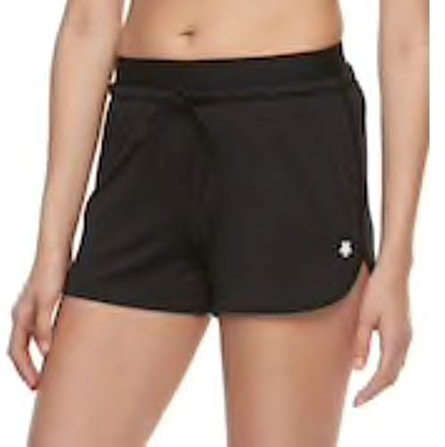Tek Gear Women's Athletic ~ Dry Exposed Elastic Yoga Workout Gym Shorts - in Charcoal or Black S/M/L (Black, Medium)