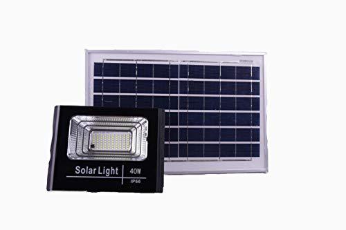 Jandei - Proyector Led Solar Exterior con Mando a Distancia, Panel Solar Separado con cable 5 metros y Batería de Litio incluida. Válido para jardín, camino, garaje, parques, calle, etc. (40)