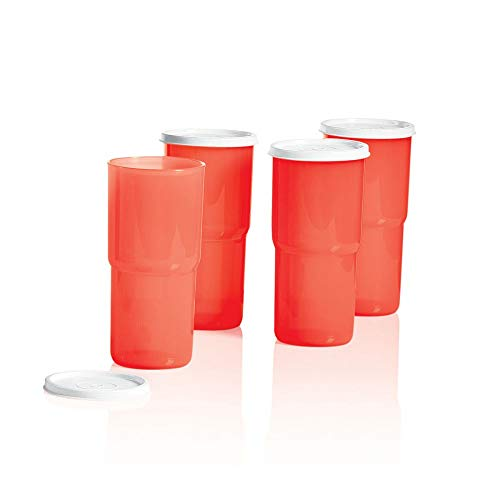Set of 4 Tupperware 18 ounce TableTop Stacking Tumblers in Orange