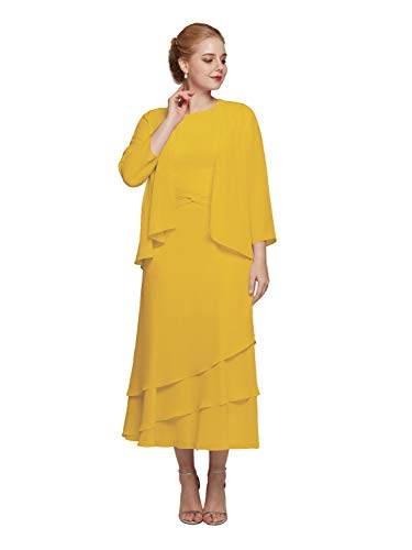 AW BRIDAL Tea Length Mustard Yellow Plus Size Mother of The Bride Dresses for Wedding Formal Wedding Guest Dresses for Women,US22