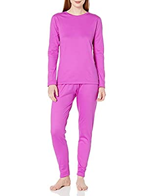 Fruit of the Loom Women's Fleece Lined Thermal Underwear Set, Bright Orchid, Large
