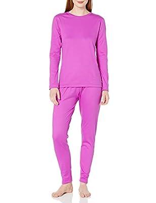 Fruit of the Loom Women's Fleece Lined Thermal Underwear Set, Bright Orchid, Medium