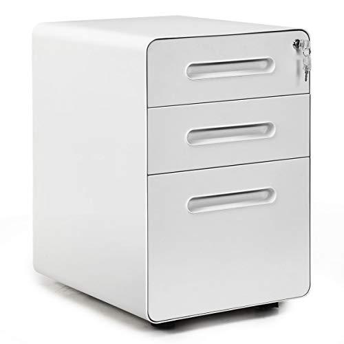 COSTWAY Rollcontainer Metall, Büroschrank mit 3 Schubladen, Aktenschrank abschließbar, Bürocontainer mobil, für Zuhause und Büro (weiß)