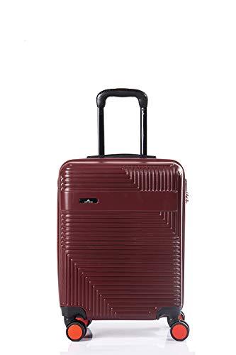 North CASE ABS 8 Wheels CCS Suitcase Luggage Trolley HARDCASE Lightweight Cabin Bag Burgundy-Black S (M, Burgundy - Black)