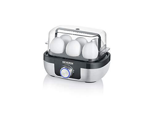 SEVERIN Eierkocher für 6 Eier mit elektronischer Kochzeitüberwachung, inkl. Messbecher mit Eierstecher, Eier Kocher mit Pochiereinsatz, Edelstahl-gebürstet/schwarz, 420 W, EK 3167