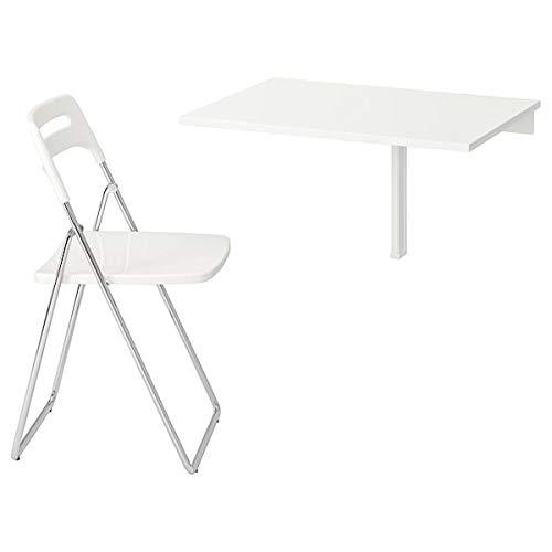 NORBERG / NISSE Mesa y 1 silla, blanco, cromado blanco, 74 cm, resistente y fácil de cuidar. Conjuntos de comedor de...