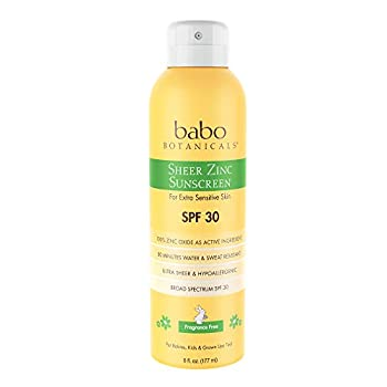 Babo Botanicals Sheer Zinc Continuous Spray Sunscreen SPF 30 with 100% Mineral Active Non-Nano Water-Resistant Reef-Friendly Fragrance-Free Vegan for Babies Kids or Sensitive Skin - 6 oz.